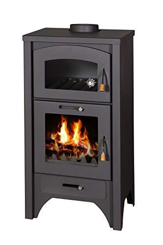 Estufa de leña con horno, 18kW, diseño retro, placa de hierro fundido (57 x 53 x 103cm), color negro opaco