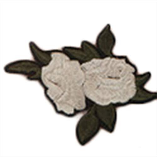 Chakil 1 pcs Blanc Tissu à fleurs Rose Stickers Patch Chaussures Chapeaux Sacs Accessoires Applique Crafts Taille 7.7 * 6.7 cm