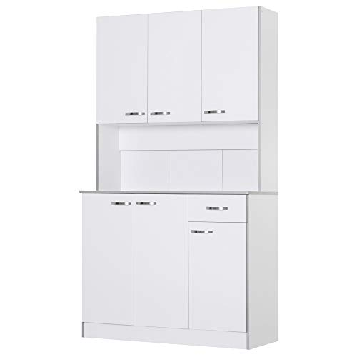 HOMCOM 71' Freestanding Kitchen Buffet Hutch Cupboard with 6 Doors, 3 Adjustable Shelves, and 1 Drawer, White