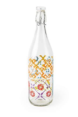 Excelsa Maioliche Botella Transparente con Decoraciones Capacidad: 1 Litro