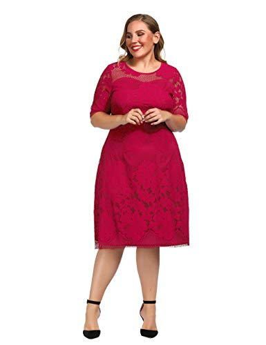 Chicwe Women's Plus Size Lined Floral Lace Dress - Knee Length Casual Party Cocktail Dress 2X Red