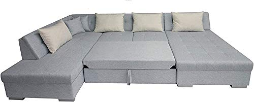 NOTREPP Sofá Plegable Esquina, sin Brazos sofá Esquina panorámica - Tela, Gris y Negro,Grey