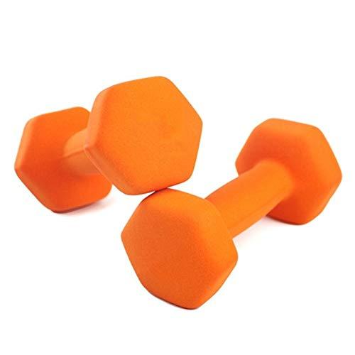 LUSTAR Juego de 2 Mancuernas Hexagonales de Neopreno, Pesas Naranjas 1KG 1.5KG 2KG 3KG 4KG 5KG para Fitness General Muscle,Orange-(1.5kg*2)