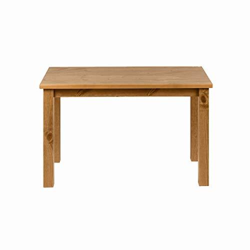 hagge home Couchtische Massivholz Kiefer, Tisch Wohnzimmer, Kleiner Tisch, Nordisches Kiefernholz, Holz aus nachhaltiger Waldwirtschaft, 75x38 cm, Höhe 45 cm, Braune Eiche