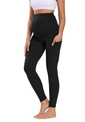 V VOCNI Schwangerschafts-Leggings, Yoga-Hose, Full Panel 3D Cutting Colorblock High Rise 63,5 cm Workout Running Schwangerschaft Tight - Schwarz - Groß