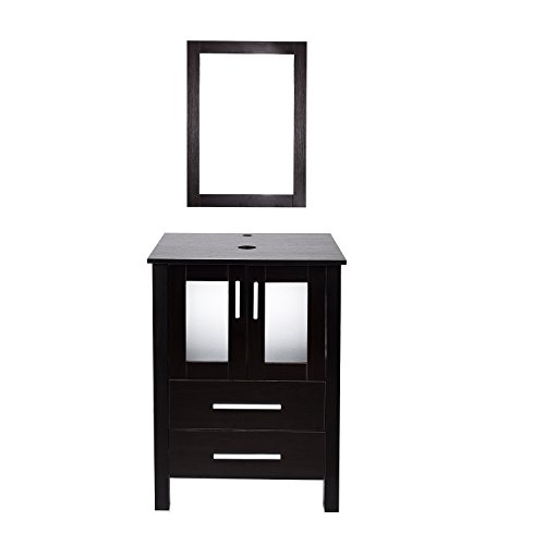 24 inch-Modern Bathroom Vanities Suite, Sets with Wall-Mounted Mirror MDF Stand Pedestal Storage Cabinet Espresso Wood Construction SquareCounterTop with Chrome Footage (2Drawer2Door)
