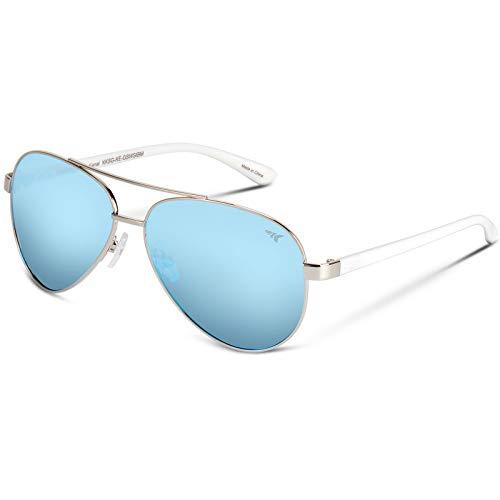 KastKing Kenai Polarized Aviator Style Sunglasses for Men and Women, Gloss Silver with White Temple Frame, Smoke Base Ice Mirror