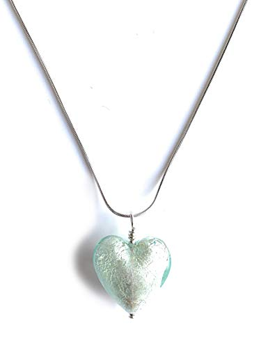 Diana Ingram necklace with aquamarine (blue) Murano glass medium heart pendant on Sterling Silver snake chain