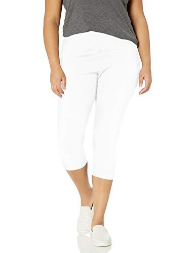 Lyssé Women's Plus-Size Denim Capri Legging, White, 3X
