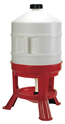 Abbeveratoio A Serbatoio In Plastica, 30L, Bianco/Rosso