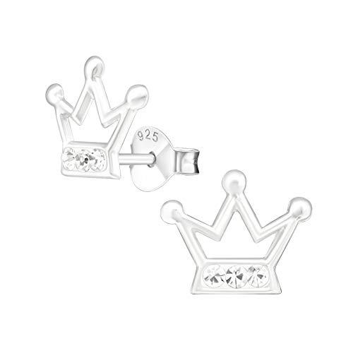 Laimons Kids Pendientes para niña Corona Brillante Brillante Plata de ley 925