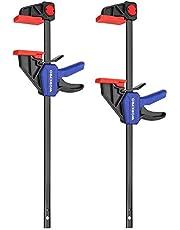 WORKPRO 2 Stuks Stalen Nylon Eenhandklemset voor Nauwkeurige Bevestiging, Klembreedte 305mm, Maximale Klemkracht 68kg, Rekbereik tot 440mm