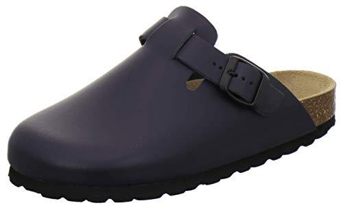 AFS-Schuhe 2900 Clogs Damen Bequeme Hausschuhe aus Leder Made in Germany (36 EU, Navy)