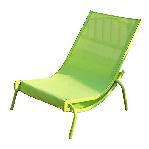 FUFU Patio Lounge Chairs Lounge Chair, Outdoor Furniture, Leisure Wrought Iron Folding Chair, Bed, Balcony, Outdoor Beach, Pool, Folding Beach Lounger, Blue, Green 90*65*72cm Durable ( Color : Green )