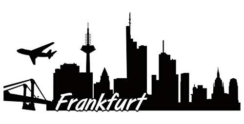 Samunshi® Frankfurt Skyline Aufkleber Sticker Autoaufkleber City Gedruckt in 7 Größen (15x6,3cm schwarz)