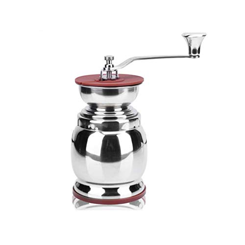 XWSQ Drum Type 304 Stainless Steel Bean Grinder,Household Manual Coffee Grinder with Sealed Pot,Best for Aeropress, Drip Coffee, Espresso, French Press, Turkish Brew