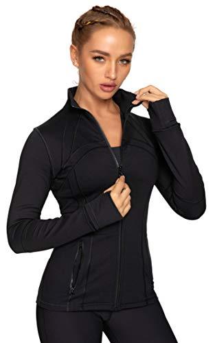 QUEENIEKE Damen Sport definieren Jacke Slim Fit Cottony-Soft Handfeel Farbe Schwarz Größe M(8/10