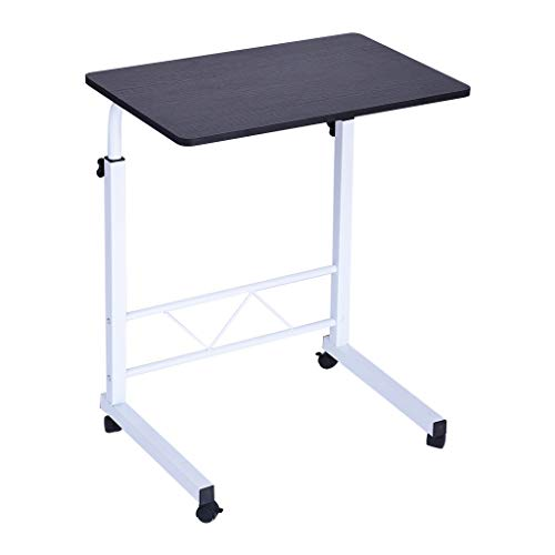 """Voberry Mobile Computer Desk, Laptop Stand Adjustable 23.6"""" Computer Standing Desk Portable Cart Tray Side Table with 4 Wheels for Bed Sofa Hospital Reading Eating (Black)"""