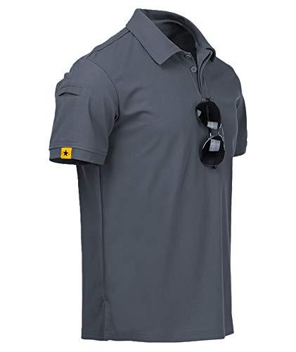 GEEK LIGHTING Mens Polo Shirt Quick-Dry High Moisture Wicking Short Sleeve Sports Golf Tennis T-Shirt Grey-XL