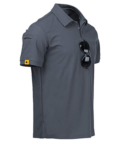 ZITY Mens Polo Shirt Cool Quick-Dry Sweat-Wicking Short Sleeve Sports Golf Tennis T-Shirt Grey-2XL