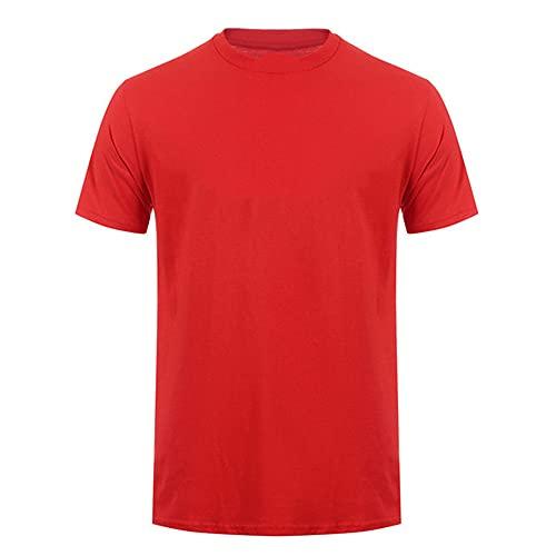 N\P Estate Canale Camicie Manica Corta Cotone O-Neck Unisex, Rosso, XL