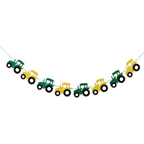 Stoff Girlande Kette Wimpelgirlande Wimpelkette Hängedeko mit Traktor Design, Länge: 3 M - Grün + Gelb 1