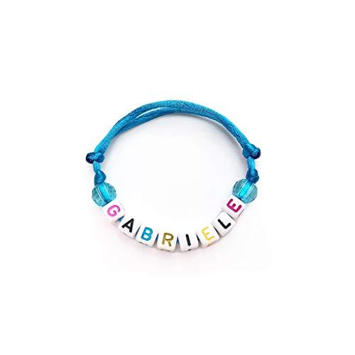 Braccialetto GABRIELE con Nome Messaggio Testo Nickname Logo per adulto, bambino; cubo lettera alfabeto A - Z; Cordoncino di raso; handmade