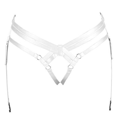 BANSSGOTH Giarrettiera Cintura in vita Gabbia per intimo Imbracatura per il corpo da donna Cinturino per gamba punk Tessuto elastico Taglie forti Festival Rave (bianca)