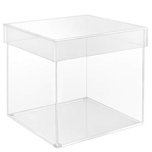 Belle Vous Caja Metacrilato 5 Lados Cubo de Acrílico Transparente con Tapa Cubo Organizador 15 x 15 cm - A Prueba de Polvo Almacenaje de Sobremesa para Coleccionables, Juguetes, Maquillaje
