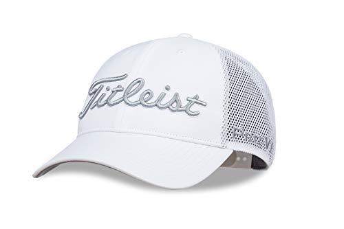 Titleist Men's Tour Performance Mesh Golf Hat, White/Grey