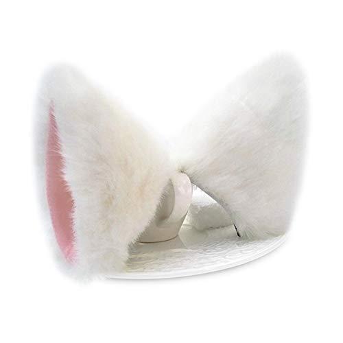 ONECHANCE Orejas de zorro cosplay oreja de gato diadema Catwoman disfraz de Halloween Carnaval (Blanco rosa)