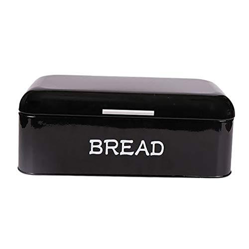 PETSOLA Metall Brotkasten Brotbox Rechteckige Dose Metallbox für Küche - Schwarz