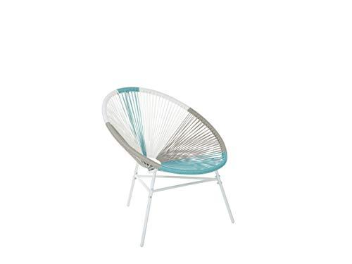 Beliani Gartenstuhl mexikanischer Stuhl weß beige türkis Rattanstuhl Acapulco