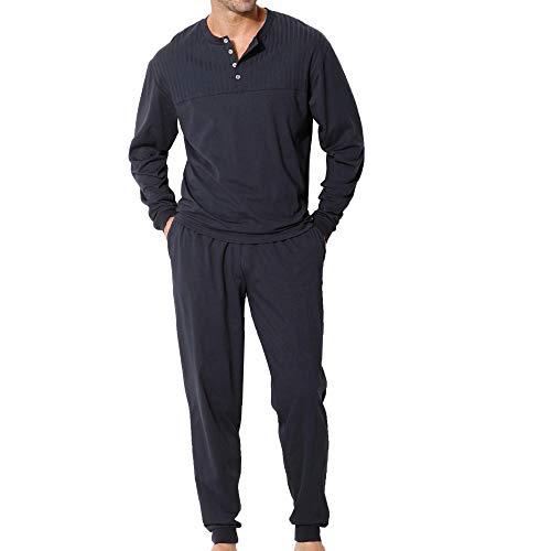 Lascana H.I.S H.I.S Herren Pyjama mit Rippeneinsatz, Rundhalsausschnitt (48/50, Marine)