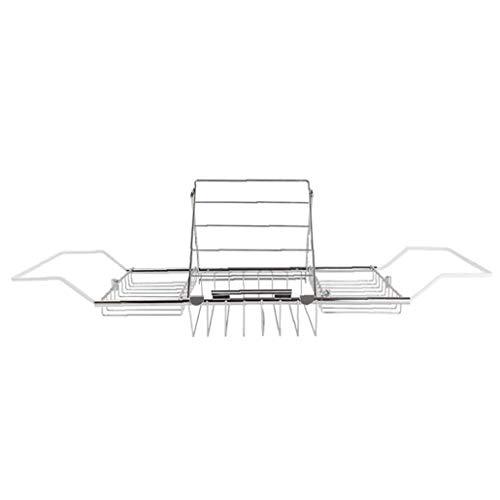 IUwnHceE Badewanne Caddy Tray Badezimmer-Lese Stahl-Rack Erweiterbare Regal für Dusche Badewanne Phone Pad Buchhalter Silber Gemütlich Familienleben