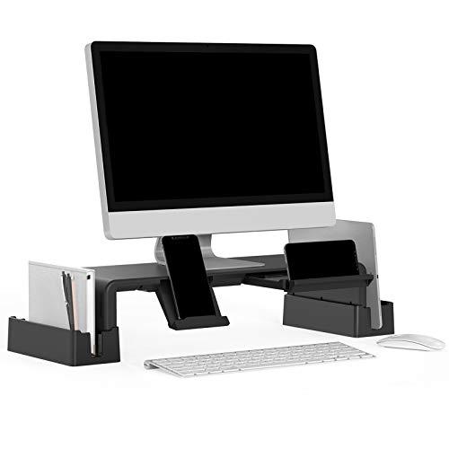 Soporte de monitor con función de almacenamiento,soporte de pantalla ajustable MiiKARE con cajón extraíble+soporte para teléfono móvil+2 estantes de almacenamiento,soporte para computadora portátil