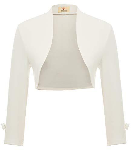 GRACE KARIN Cardigan Gilet Court Femme pour Robe Chic Bolero Haussement Manche Longue a Nouer Grande Taille Blanc 2XL DECL2-2