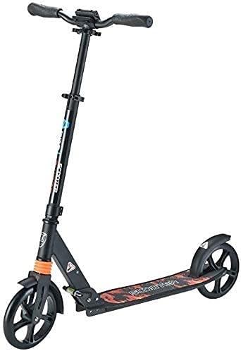 monopatín Patinete Scooters para Adultos | Estilo T Resistente aleación de Aluminio aleación Plegable Altura Regulable Rueda Grande 200 mm PU Wheels City Scooter (Color : Black)