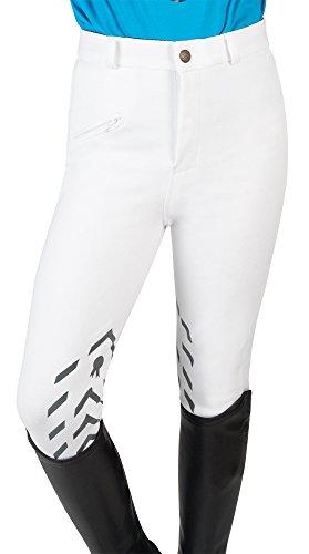 PFIFF - Pantaloni da equitazione in silicone, per bambini, colore: bianco/grigio 122