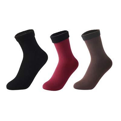 Espesar nylon térmico para los calcetines de abrigo de invierno de las mujeres calcetines de color sólido de cachemira, 3 pares (Color : 12, Size : 35 40)