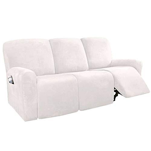 Strech Recliner Überzug Sessel Husse, Bezug für Relax Fernsehsessel 8-teilige Möbelschutz Couch Rich Velvet Plüsch Form Fit Stretch Stylish Soft Mit Elastischem Boden-weiss-Teilen Sie acht Teile