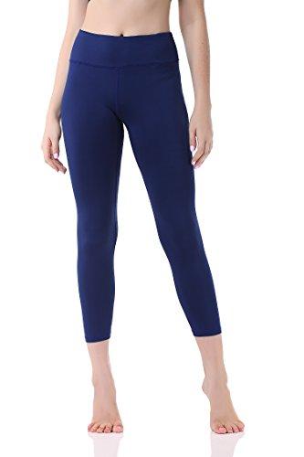 Leggins Sportivi 3/4 Donna, Allenamento Leggings Opaco Pantaloni Yoga Fitness Palestra, GP-07(Blue,S)