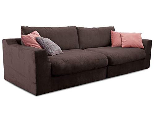 Cavadore Big Sofa Fiona / Große Couch inkl. Rückenkissen im modernen Design / 274x90x112 / Webstoff dunkelbraun