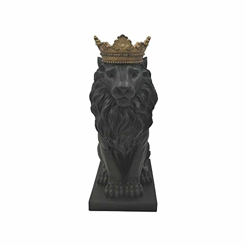 Comfy Hour Farmhouse Home Decor Collection 15' Resin Stone Lion Figurine King of Forest Statue Sculpture Home Decoration, Black & Gold