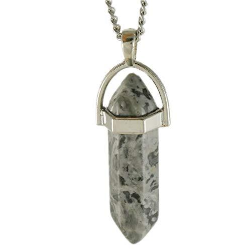 Isabell Giese Halskette Prisma-Anhänger   Natur- und Edelstein   Kristallspitzen   mit Kette aus Edelstahl   3,8x1 cm (Zebra-Achat)