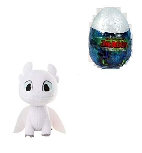 How to Train Your Dragon, Hidden World, Night Light Fury 3-inch Plush, Cute Collectible Plush Dragon in Egg