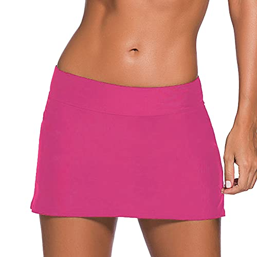 REKITA Women Swim Skirt Solid Color Waistband Skort Bikini Bottom,Rose Red,XX-Large