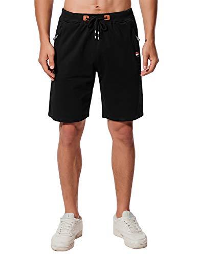 Chyu Herren Beiläufig Shorts Baumwolle Sport Jogger Classic Fit Sommershorts, elastische Taille Reißverschlusstaschen (Schwarz, L)