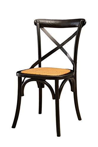 Biscottini Silla Thonet de madera maciza de fresno y asiento de ratán, acabado negro, 48 x 52 x 88 cm