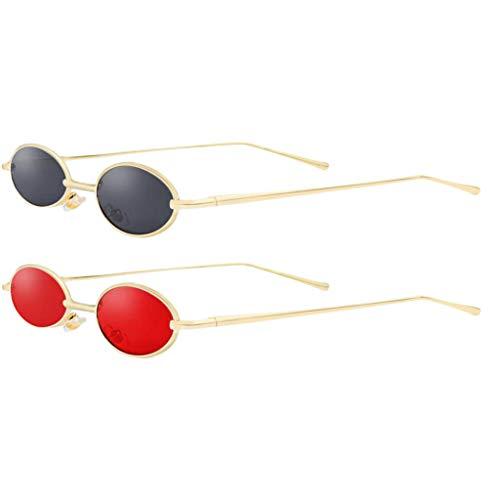 Harilla Juego de 2 Gafas de Sol Pequeñas Vintage con Marco de Metal Delgado Ovalado Color Caramelo